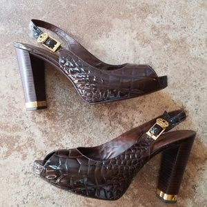 Tory Burch amazing leather alligator pumps